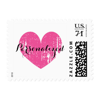 Personalized vintage pink heart wedding stamps