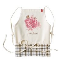 Personalized Vintage Pink Rose Butterfly Floral Zazzle HEART Apron
