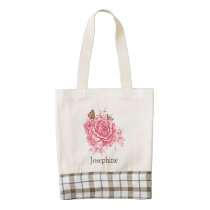 Personalized Vintage Pink Rose Butterfly Floral Zazzle HEART Tote Bag