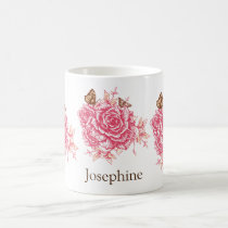 Personalized Vintage Pink Rose Flower Butterf Coffee Mug
