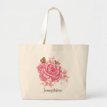 Personalized Vintage Pink Rose Flower Butterf Large Tote Bag