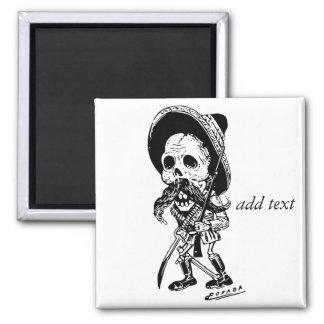 Personalized Vintage Posada Skeleton Calavera 2 Inch Square Magnet