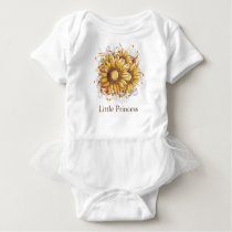 Personalized Vintage Pretty Sunflowers Baby Bodysuit