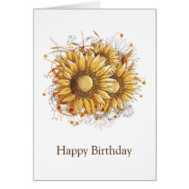 Personalized Vintage Pretty Sunflowers Card