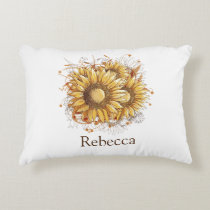 Personalized Vintage Pretty Sunflowers Decorative Pillow