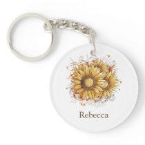Personalized Vintage Pretty Sunflowers Keychain