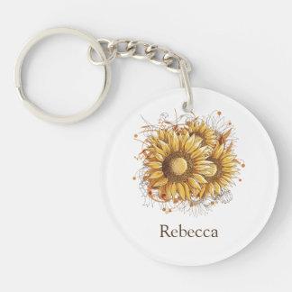 Personalized Vintage Pretty Sunflowers Keychain