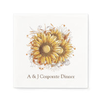 Personalized Vintage Pretty Sunflowers Napkin