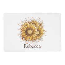 Personalized Vintage Pretty Sunflowers Placemat