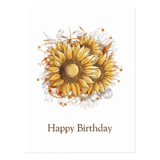 Personalized Vintage Pretty Sunflowers Postcard