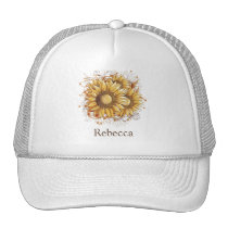 Personalized Vintage Pretty Sunflowers Trucker Hat
