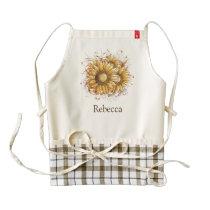 Personalized Vintage Pretty Sunflowers Zazzle HEART Apron