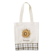 Personalized Vintage Pretty Sunflowers Zazzle HEART Tote Bag