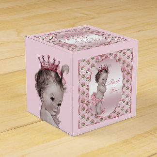 Personalized Vintage Princess Baby Roses Thank You Favor Box
