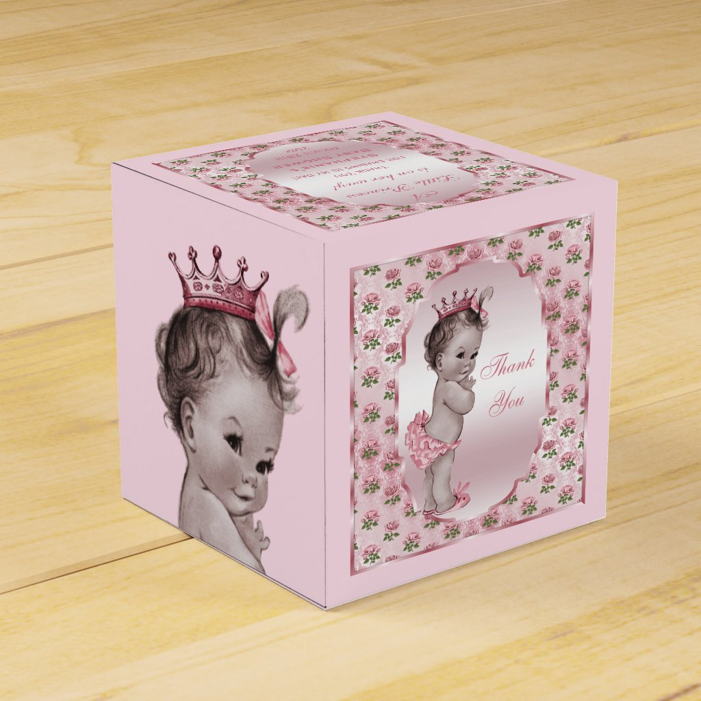 Baby Shower Thank You Gift Boxes : Personalized vintage princess baby roses thank you favor box