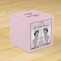 Personalized Vintage Princess Twins Baby Shower Favor Box