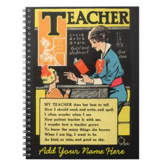 Personalized Vintage Progressive Era Teacher Poem Notebook