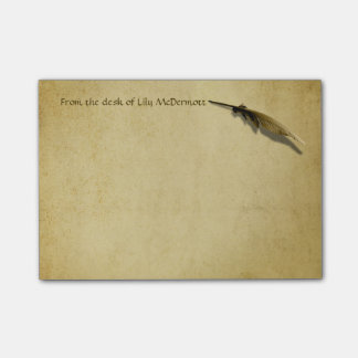 Personalized Vintage Quill Pen and Aged Paper Post-it Notes
