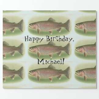 Personalized Vintage Rainbow Trout Wrapping Paper