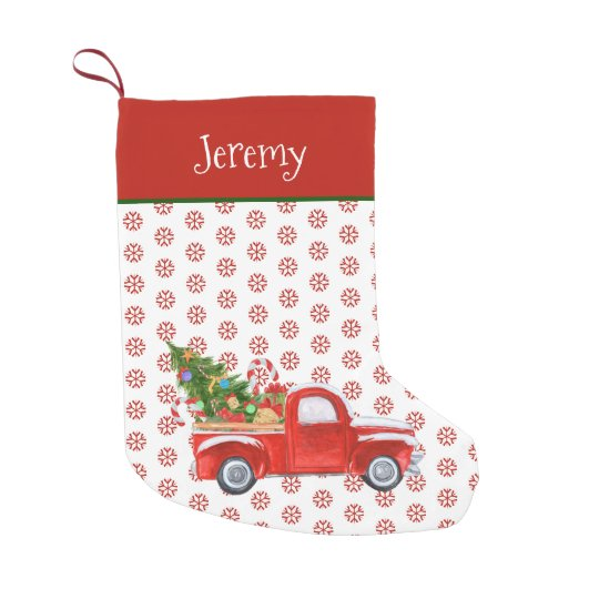 Personalized Vintage Red Christmas Truck Snowflake Small Christmas Stocking