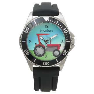 Personalized Vintage Red Farm Tractor Wrist Watch