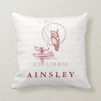 Personalized Vintage Red Owl Collage Throw Pillow