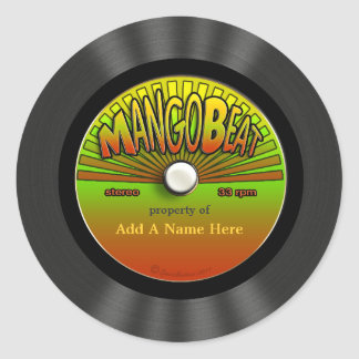 Personalized Vintage Reggae Vinyl Record Classic Round Sticker