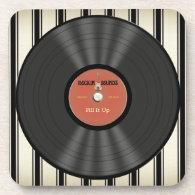 Personalized Vintage Rock Vinyl Record Drink Coasters