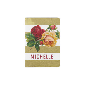 Personalized Vintage Rose and Gold Striped Passport Holder