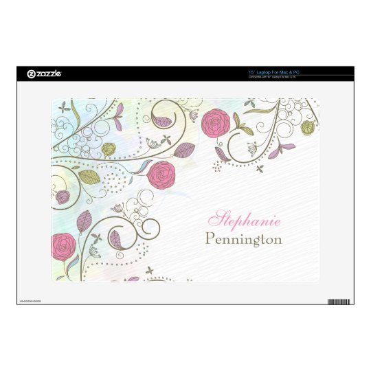 Personalized vintage rose floral swirl laptop skin