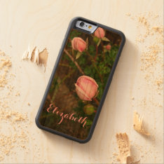 Personalized Vintage Rosebuds Wooden Phone Case at Zazzle