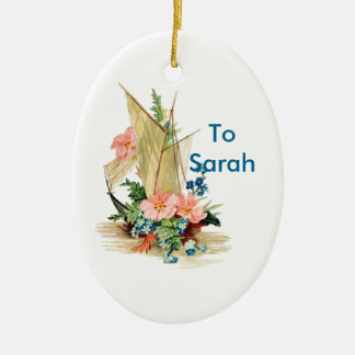Personalized Vintage Sailboat with Flowers Ceramic Ornament