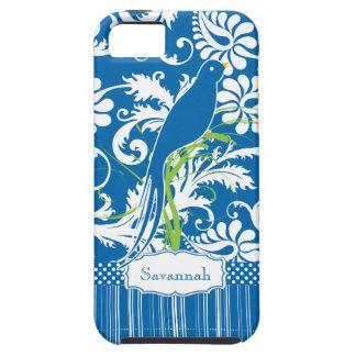 Personalized Vintage Sea Blue Damask Love Bird iPhone 5 Case