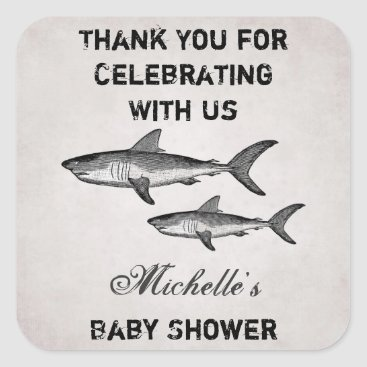 Beach Themed Personalized Vintage Shark Baby Shower Thank You Square Sticker