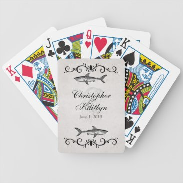Beach Themed Personalized Vintage Shark Jellyfish Wedding Bicycle Playing Cards