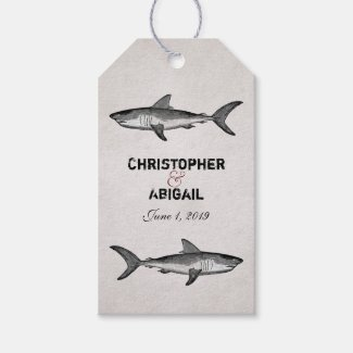 Personalized Vintage Shark Wedding Gift Tags