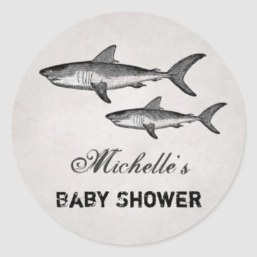 Beach Themed Personalized Vintage Sharks Beach Baby Shower Classic Round Sticker