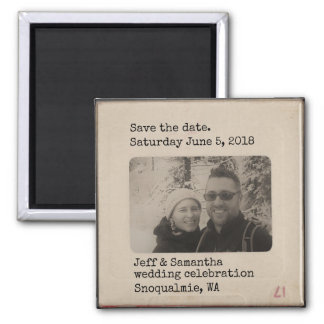Personalized Vintage Slide save the date magnet