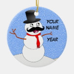 Personalized Vintage Snowman With Mustache Double-Sided Ceramic Round Christmas Ornament