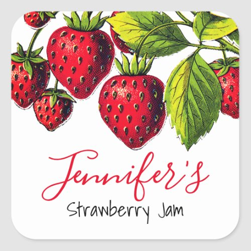 Personalized Vintage Strawberry Jam Canning Jar Square Sticker
