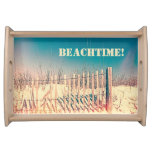 Personalized Vintage Style Beach Fence Scene Food Tray