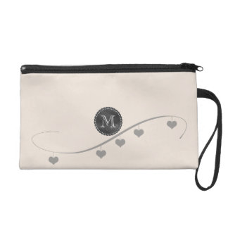Personalized Vintage Style Cream Hearts Bag Wristlet Clutches