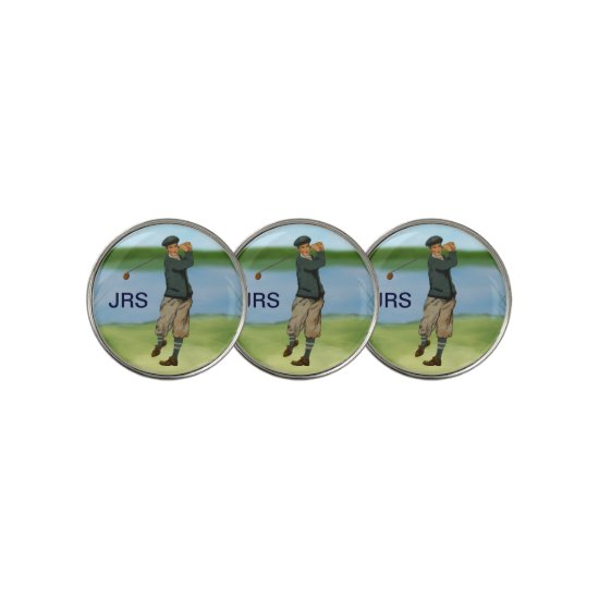 Personalized Vintage style golf scene Golf Ball Marker