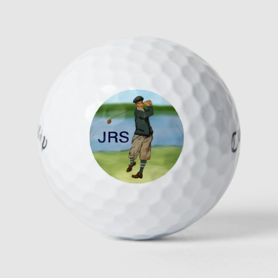 Personalized Vintage style golf scene Golf Balls