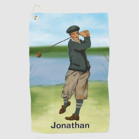 Personalized Vintage style golf scene Golf Towel