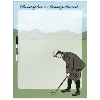 Personalized Vintage style golfer putting Dry-Erase Board