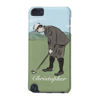 Personalized Vintage style golfer putting iPod Touch 5G Cover