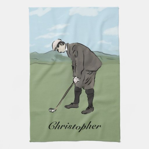 Personalized Vintage style golfer putting Kitchen Towels