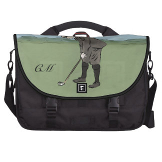 Personalized Vintage style golfer putting Bags For Laptop