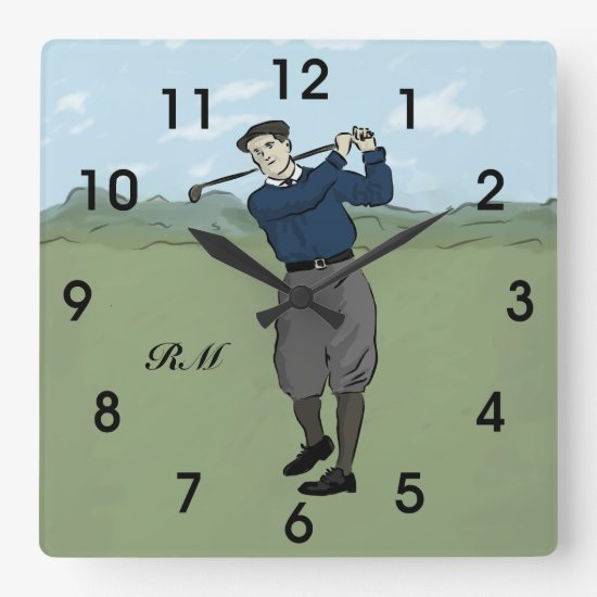 Personalized Vintage style golfer swinging his clu Square Wall Clock